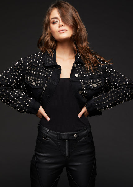 black denim jacket with studs