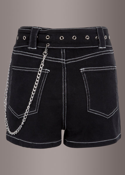 black denim shorts with studs