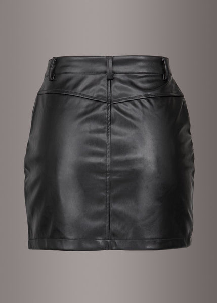 black faux leather mini skirt