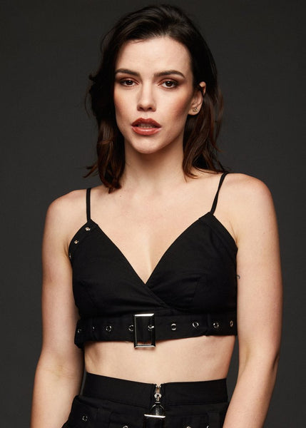 black crop goth top