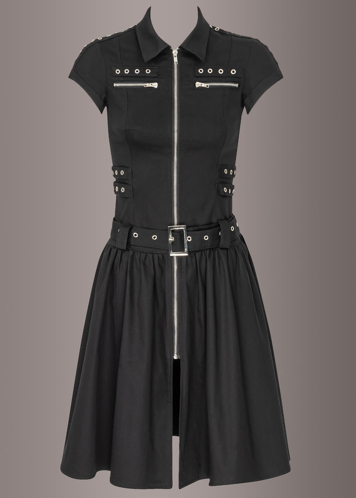 Black Magic Midi Dress with Buckles and Lacing