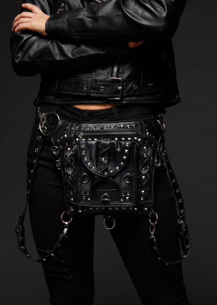 black holster bag with studs