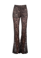 Black Lace Flared Bell Bottom Pants