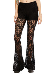 black lace bell bottom pants