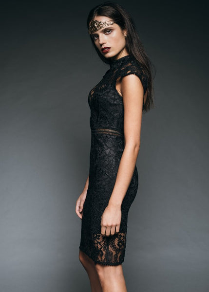 black lace gothic dress