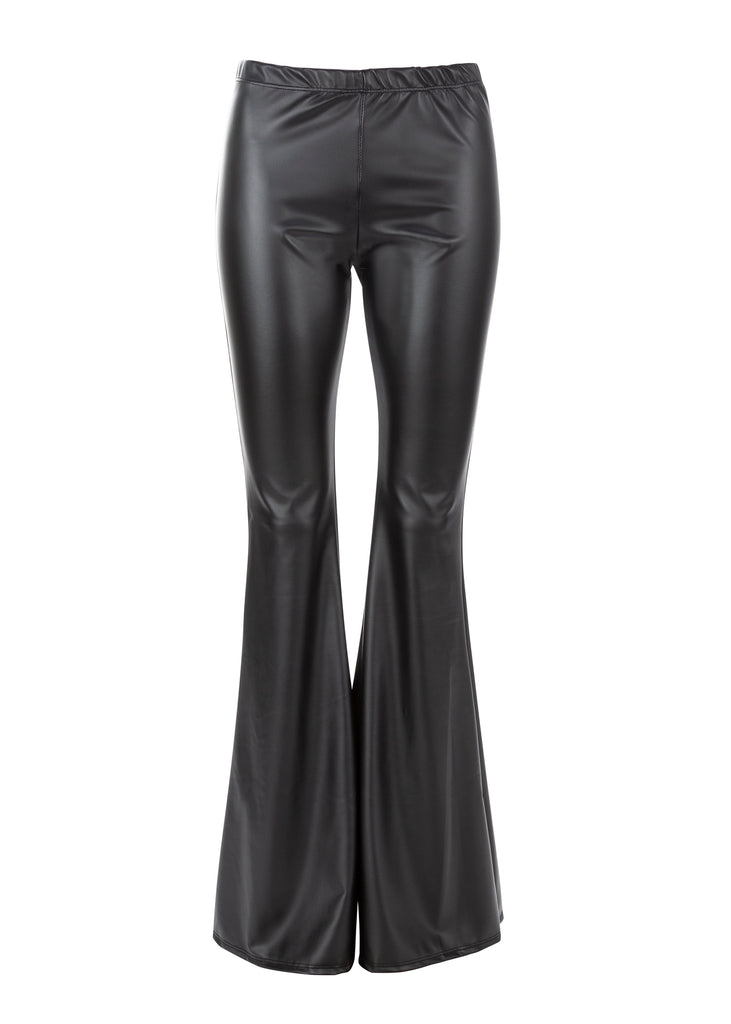 Black Faux Leather Bell Bottoms Flare Pants