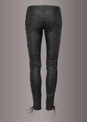 black leather biker pants