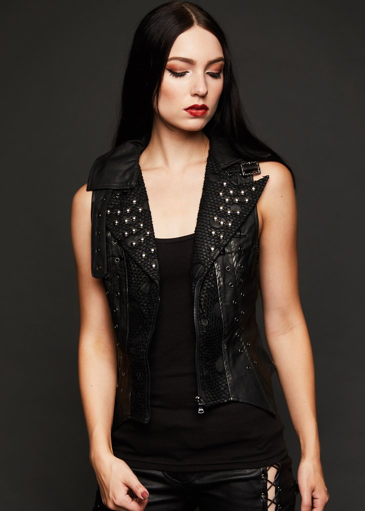 black leather biker vest