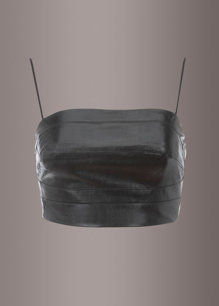 black leather crop top