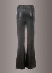 Raise Hell Black Faux Leather Flared Bell Bottom Pants