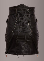 black leather studded skirt