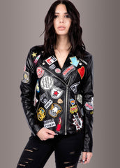 black leather jacket with patches
