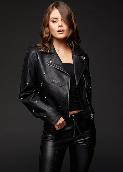 Star Studded Vegan Leather Biker Jacket