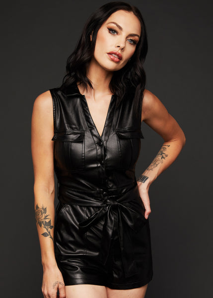 black leather jumpsuit