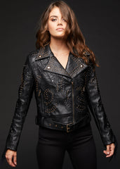 moto jacket with studs and fringe
