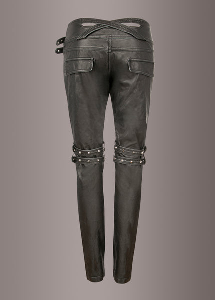 black leather biker pants with studs