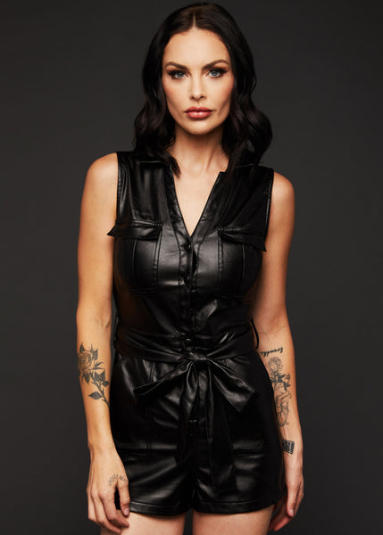 black leather romper