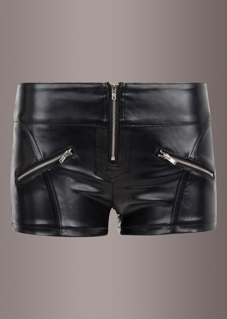 black leather hot pants