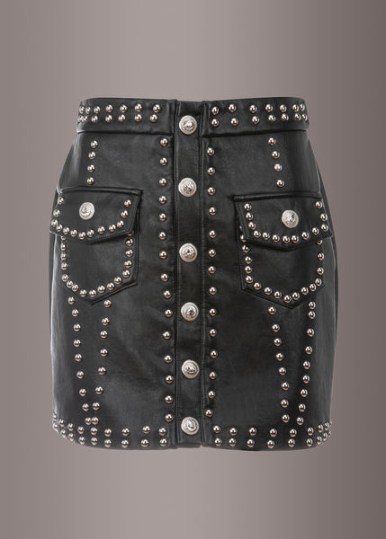 black leather skirt with studs