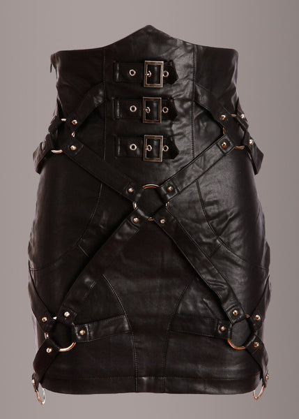 black leather goth skirt