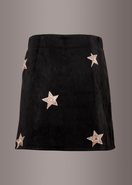 black suede mini skirt with stars