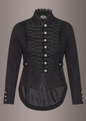 Skeletons of Society Black Military Goth Tail Jacket