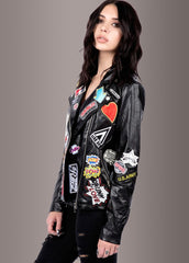 black moto jacket with patches