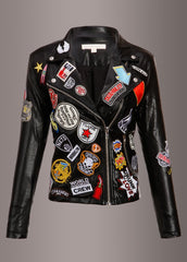 black biker jacket with patches