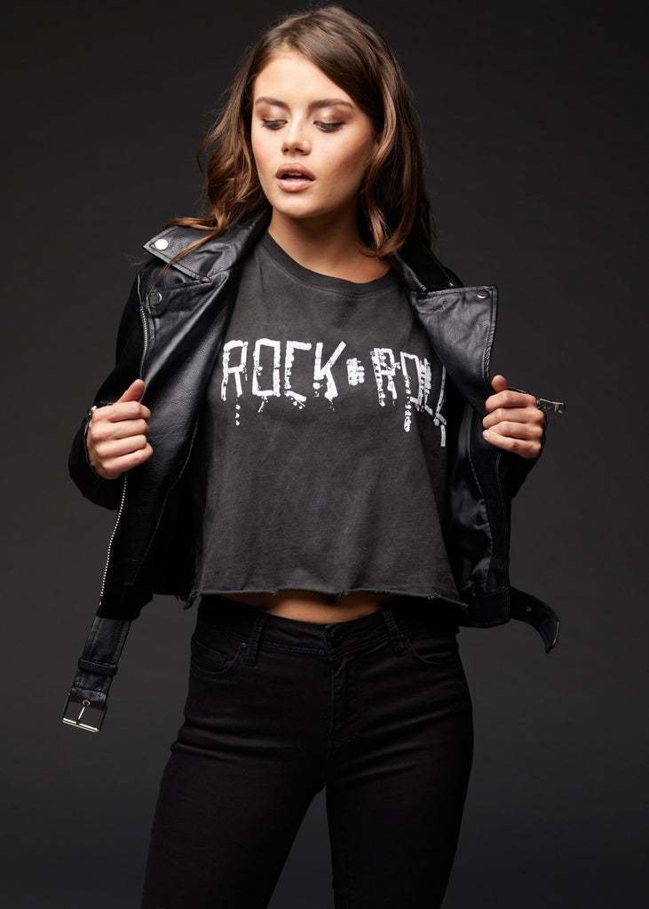 black cropped rock n roll tee
