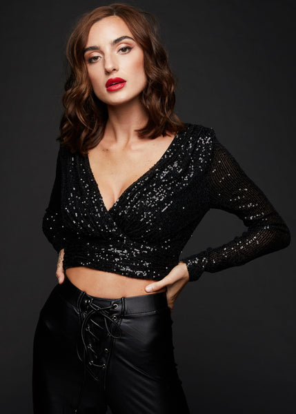 longsleeve black sequin crop top