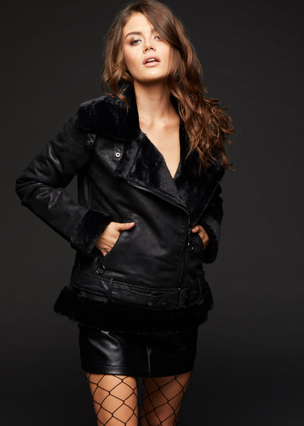 black shearling coat jacket