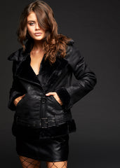 black shearling oversized biker jacket