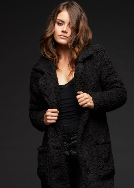 black sherpa coat jacket