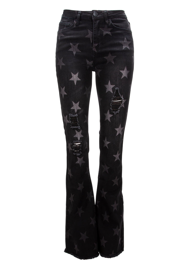 black star ripped flared jeans
