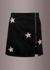black leather mini skirt with stars