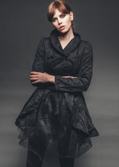 black coat with tulle