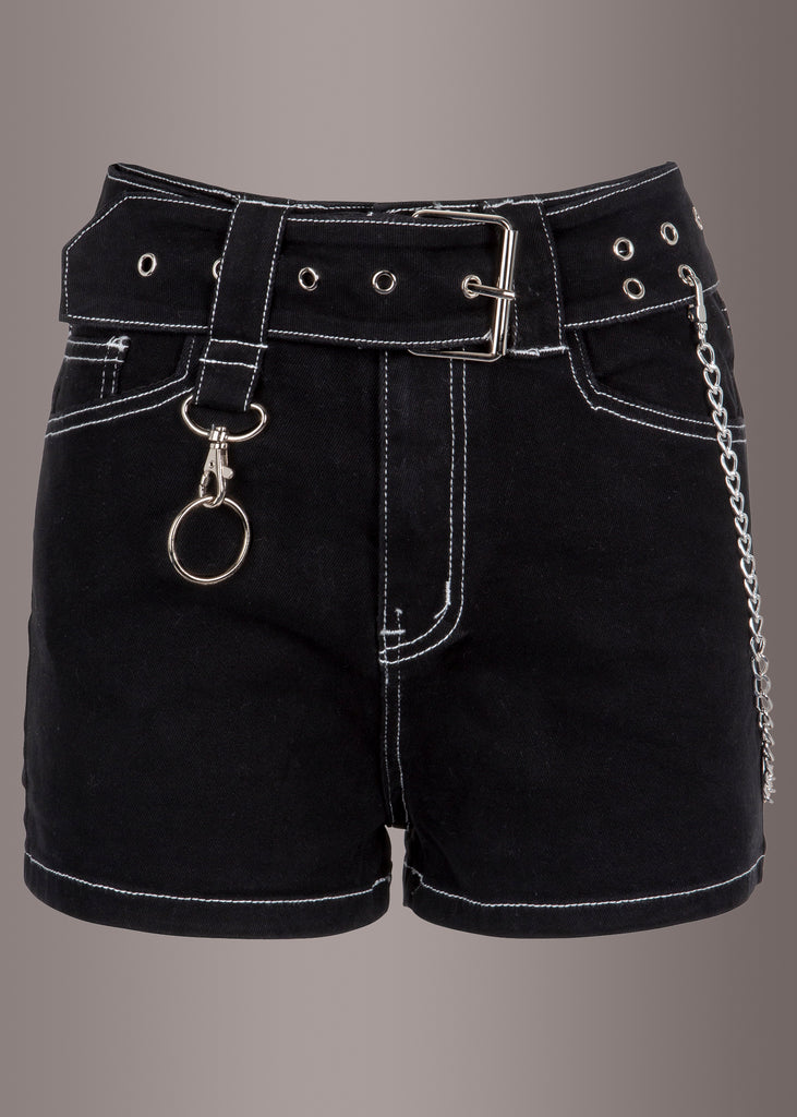 black studded denim shorts