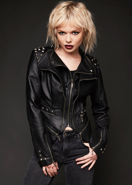 black studded faux leather jacket
