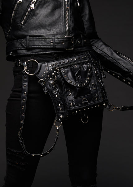 black studded holster bag