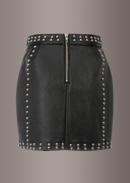 black studded leather skirt