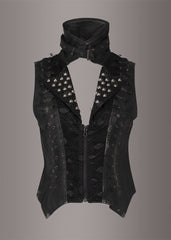 studded black leather vest