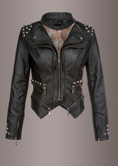 black studded moto jacket