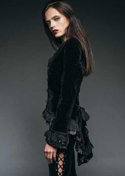 black velvet tail jacket