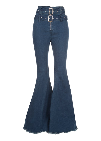 blue denim bell bottoms with belt