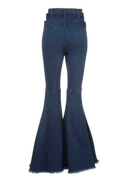 blue denim flares with belt