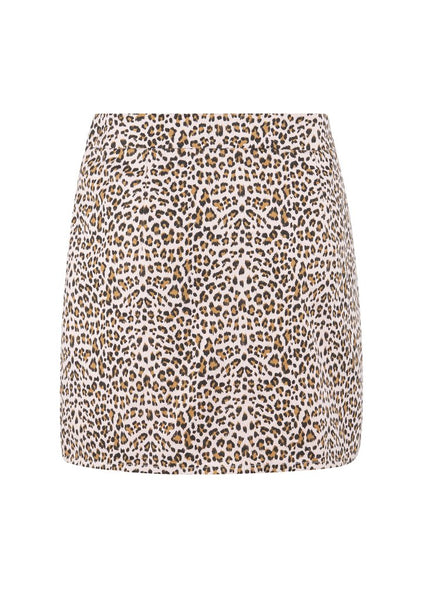 blush leopard mini skirt