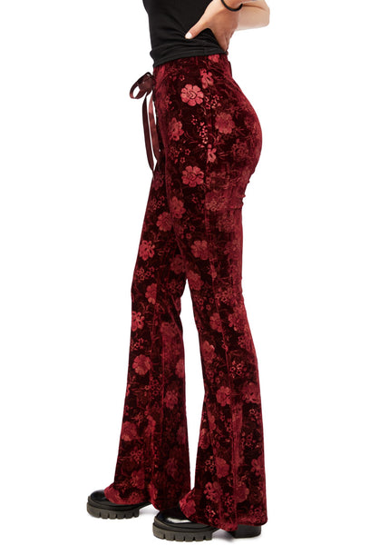 burgundy velvet bell bottom pants