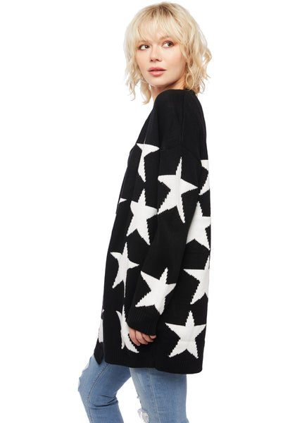 Supernova Black and White Star Design Oversized Cardigan