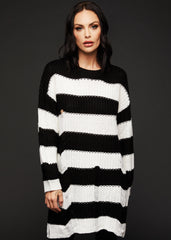 Black and White Striped Chunky Knit Sweater Dress