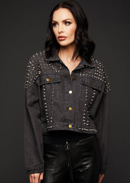 cropped denim jacket with studs
